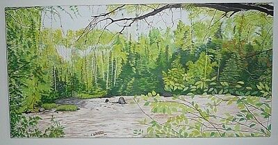 """Oil Painting On Canvas 24""""  12""""  1"""" Titled Gentle Waters Northern Ontario Canada"""