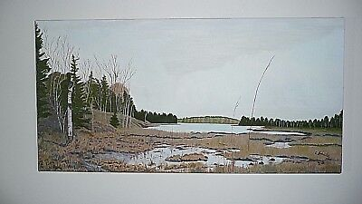 """Original Oil Painting On Canvas UNTITLED Lake in Northern Ontario 24"""" x 12"""" x 1"""""""