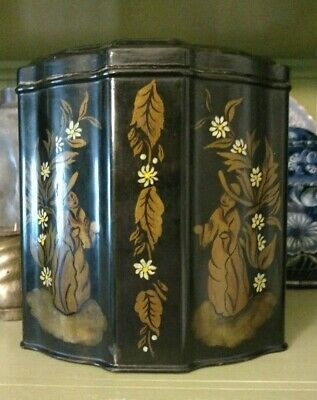 Vintage Tole Black Gold Oriental Themed Tin - Huntley Palmers Repainted