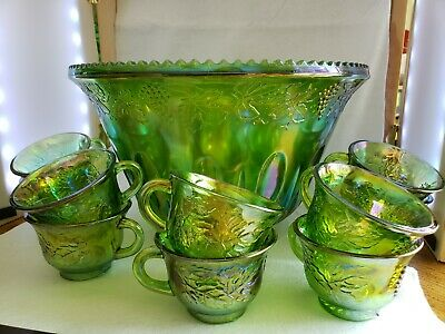 Vintage Indiana iridescent Princess green carnival glass punch bowl and 10 cups