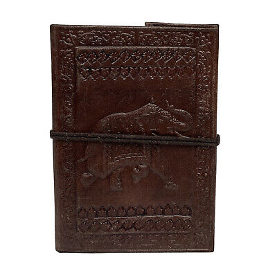 Hand Made Leather Bound Book/Journal Natural Recycled Paper-Elephant-12.5 x 9 cm