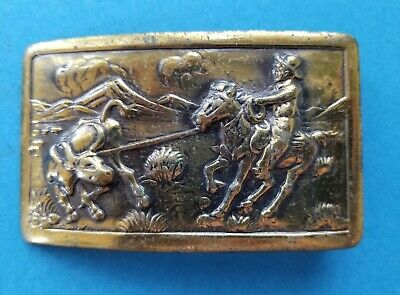 Vintage Calf Roping Belt Buckle Cowboy Steer Mountain Attached Loop Western