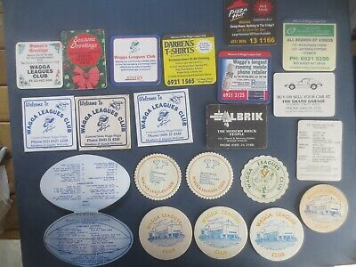 20 Different WAGGA WAGGA Rugby Leagues Club collectable Coasters CLOSED
