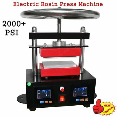 "2000+ PSI Professional Rosin Press Hand Crank Duel Heated Plates 2.4"" x 4.7"" RG"