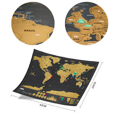 World Map Poster Deluxe Scratch Off Journal Log Giant Map Of The World Toy Gift