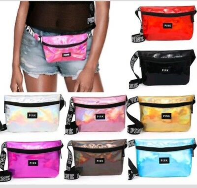 f20a9584d7384 VICTORIA'S SECRET PINK Fanny Pack Black Multi Glitter Waist Bag ...