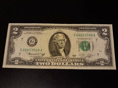 1976 CHICAGO TWO 2 DOLLAR BILL *666* serial # Uncirculated