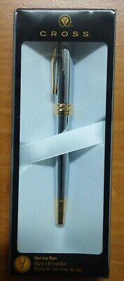 CROSS Bailey Medalist  Gel Ink Pen (NEW) Polished Chrome and 23 K gold-plate.