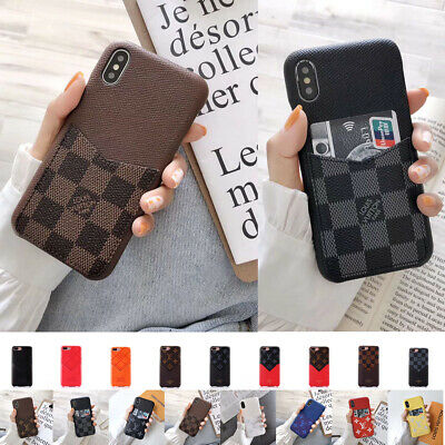 Luxury Plaids Leather Back Card Slots Case Cover for iPhone XS MAX XR 6 7 8 Plus