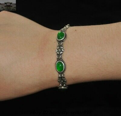 Old Chinese Dynasty Silver inlay Green Jade Gem jewelry Amulet bracelet Bangle