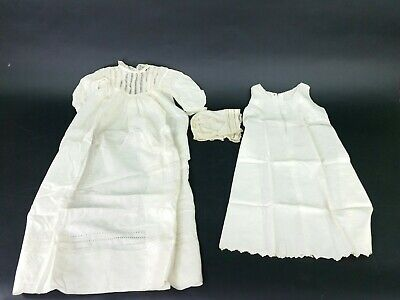 3 Piece Vintage Antique Baby Dress With Slip And Bonnet