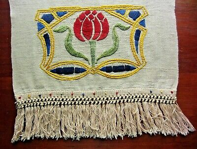 Antique Vintage Mission Style Embroidered ARTS & CRAFTS MOVEMENT LINEN RUNNER