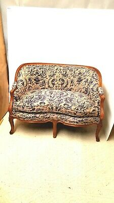 Vintage Fruitwood Louis XVI Style  Loveseat upholstered in Fortuny Corone Fabric