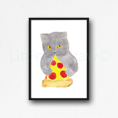 British Shorthair Cat Eating Pizza Watercolour Painting PRINT 8x10 Wall Art