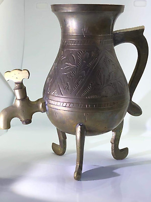 An old or antique solid brass  spouted lota pot vessel