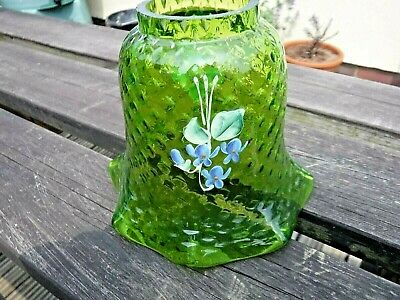Antique Hand Enameled Green Glass Oil Lamp Shade with External Moulded Pattern