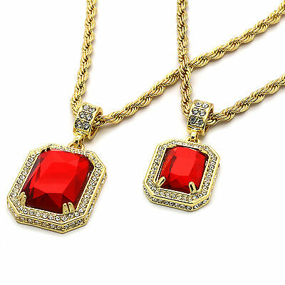 """14k Gold Plated Hip hop 2 Pieces Ruby Set 4mm 30"""" & 30"""" Rope chain"""
