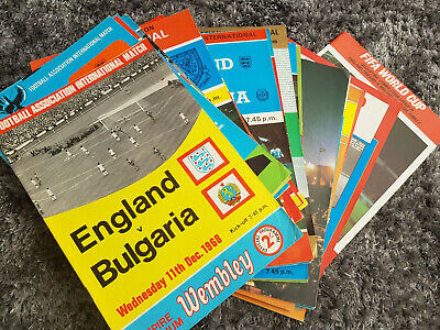 25 England Wembley football programmes 1968 to 1984 (listed)