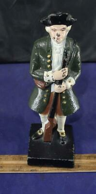 Vintage Cast Iron Colonial Soldier Doorstop Bookend Green !