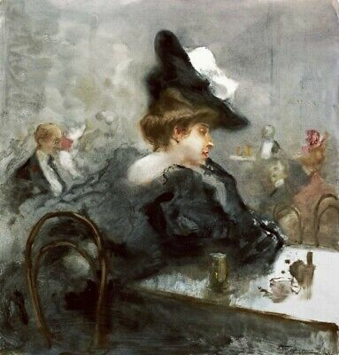 ART-PRINT-IMAGE-Fashion-Elegant-Lady-In-Black-In-a-Caf??-Picture-Poster-Fine-art