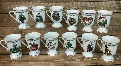 Domestications 12 Days of Christmas Complete Mug Set Pedestal Footed w/ Box