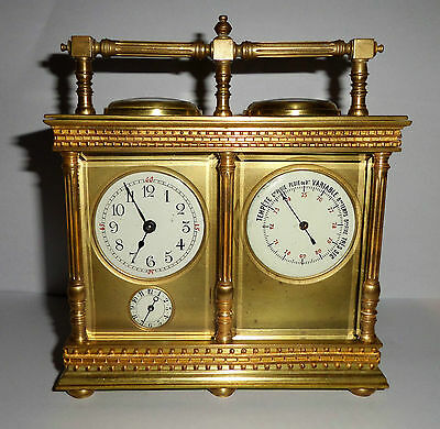 Antique French Double Carriage Clock Barometer / Alarm  / Compass Set