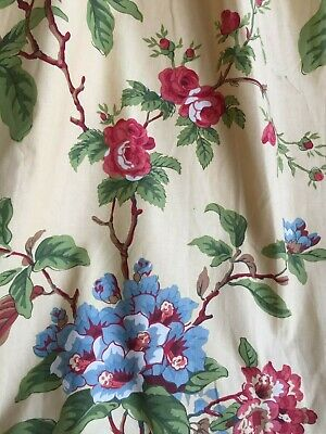 DIVINE ANTIQUE FRENCH c1930's PRINTED COTTON FLOWERS ROSES FABRIC PANEL CURTAIN