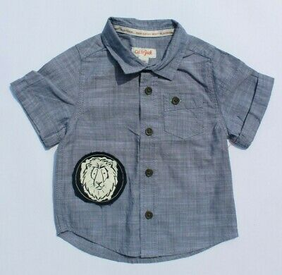 12M Cat & Jack Baby Boys Chambray Button Down Shirt with Lion Patch, Blue Grey
