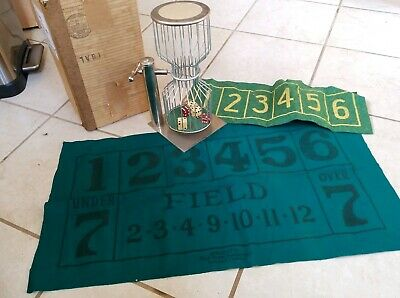 ANTIQUE 30's CHROME CHUCK A LUCK DICE CAGE TABLETOP GAMBLING GAME EXCELLENT Felt