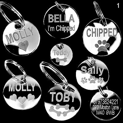engraved dog tags pet ID tag personalised pet tags engraved pet or cat tags