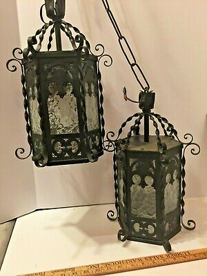 Antique Blk Wrought Iron Hanging Lights Gothic Style
