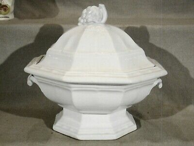 Large Antique Grape Octagon Classic White Ironstone Footed Tureen 1840-1850's