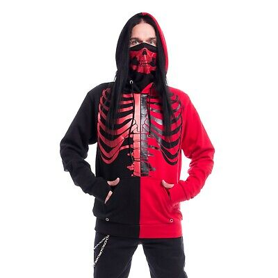 Heartless FRACTURE HOODIE BLACK RED Skeleton Gothic Punk Emo Goth Hooded Mens