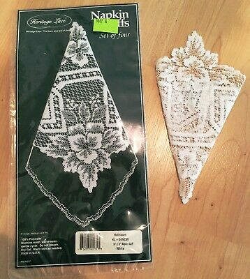 Heritage Lace Napkin Cuffs Holders Set Of Four White - New