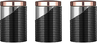 474b88c0d134 Tower Linear Set of 3 Storage Canisters, Stainless Steel, Black and Rose  Gold