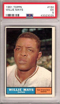 """1961 Topps WILLIE MAYS  #150  PSA Graded 5 EX-Condition """"PACK FRESH"""""""