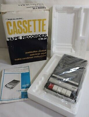 Realistic Portable Cassette Tape Recorder CTR34 CTR-34 w/ Box & Instructions