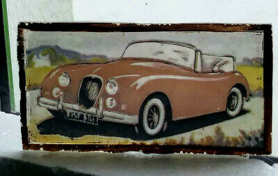 Stained Glass Jaguar XK150  Classic Cars - Rare Kiln fired fragment XK 150