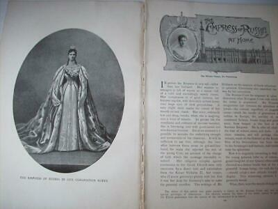 1897 visit EMPRESS RUSSIA Romanov palaces St Petersburg : magazine article ms