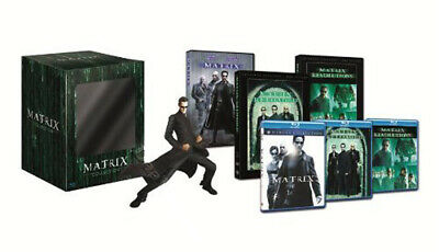 Matrix Trilogy Collection & Neo Resin Statue NEW Blu-Ray 3-Disc Set K. Reeves