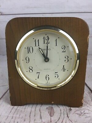 "Seiko 4.5"" Wooden Desk or Mantle Clock"