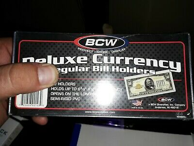 10 BCW large Bill Semi Rigid Holders Protectors Dollar Currency free shiping