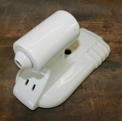 Vintage Art Deco Porcelain Sconce Bathroom Wall Fixture Light White