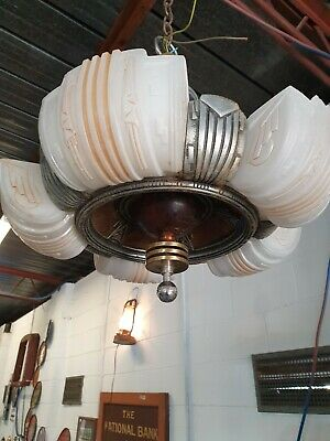 Art Deco Edwardian five light chandelier light fitting