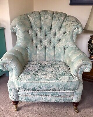Lincoln House Antique Regency Style Buttoned Green Grey Tapestry Armchair