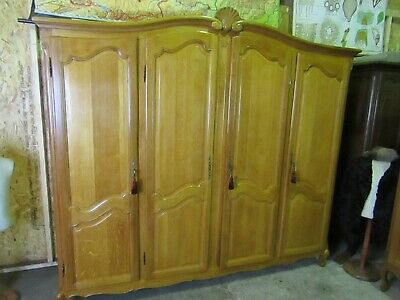 Vintage French bow top golden oak Louis armoire,Shelves,wardrobe,Flat pack