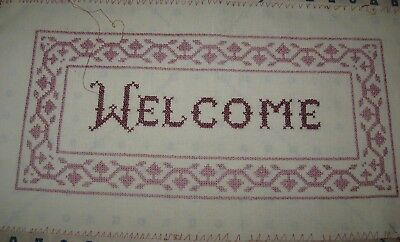 """Handmade Welcome Counted Cross Stitch, 19 x 10"""", Unframed"""