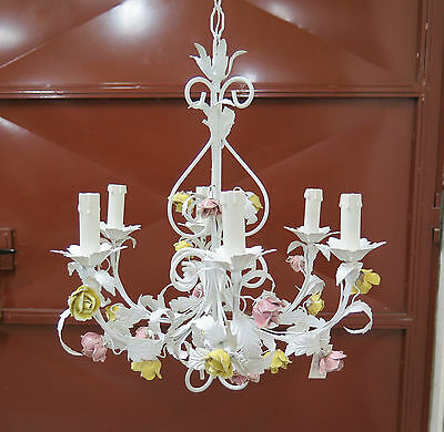 Chandelier Wrought Iron Style Floral Blossom Hand Made Vintage R