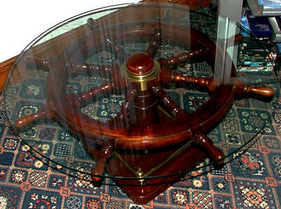 Ships Wheel & Capstan round glass top Coffee Table with Brass trimmings