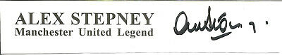 Football Autograph Alex Stepney Manchester United Signed Paper Piece F1361